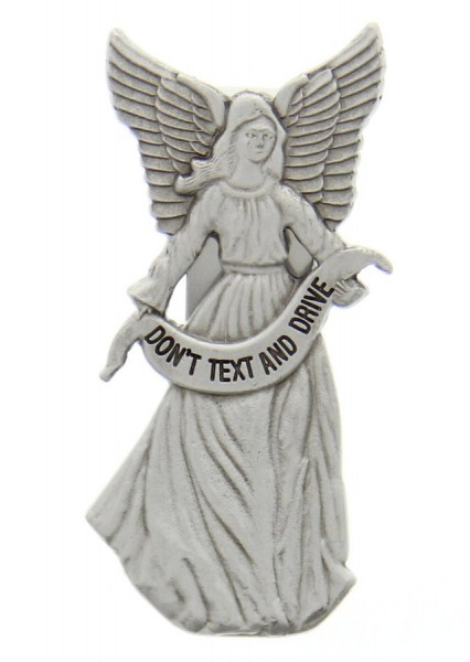 "Don't Text and Drive Guardian Angel Visor Clip, Pewter - 2 3/4""H - Silver"