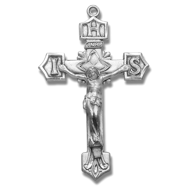 Sterling Silver IHS Rosary Crucifix - Sterling Silver