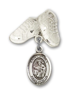 Pin Badge with St. James the Greater Charm and Baby Boots Pin - Silver tone