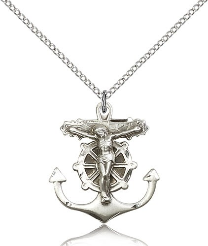 Anchor Crucifix Medal - Sterling Silver