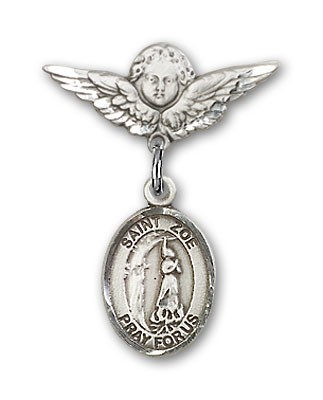 Pin Badge with St. Zoe of Rome Charm and Angel with Smaller Wings Badge Pin - Silver tone