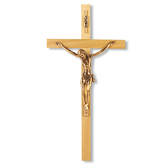 Oak Wall Crucifix with Gold Plated Corpus- 13 inch - Brown