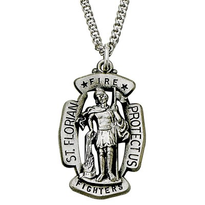 St. Florian Fire Fighter Pendant - Sterling Silver - Silver
