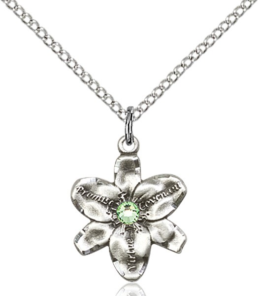 Small Five Petal Chastity Pendant with Birthstone Center - Peridot