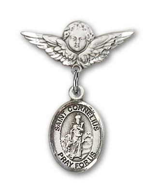 Pin Badge with St. Cornelius Charm and Angel with Smaller Wings Badge Pin - Silver tone