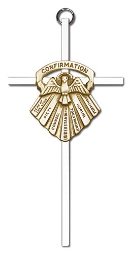"Gifts of Confirmation Wall Cross 6"" - Two-Tone Silver"
