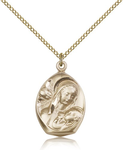 Madonna and Child Medal - 14KT Gold Filled