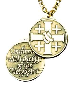 Cross and Dove Confirmation Pendant - Silver