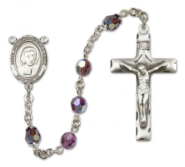 St. John Baptist de la Salle Sterling Silver Heirloom Rosary Squared Crucifix - Amethyst