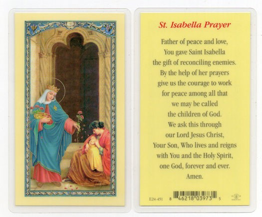 St. Isabella Laminated Prayer Cards 25 Pack - Full Color