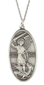 Oval St. Michael Pendant - Silver
