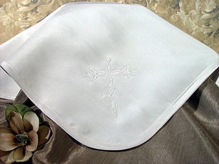Silk Dupioni Baptism Blanket with Celtic Cross - Diamond White