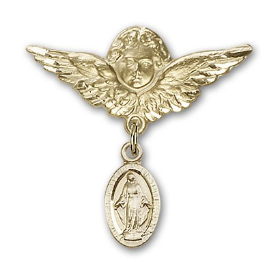 Pin Badge with Blue Miraculous Charm and Angel with Larger Wings Badge Pin - 14K Solid Gold