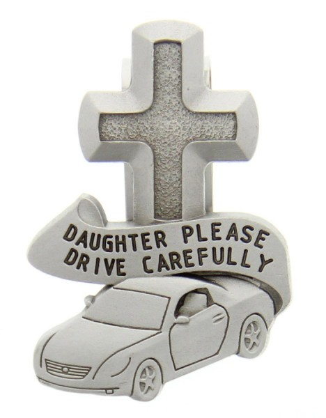 "Daughter Please Drive Carefully Visor Clip, Pewter - 2 1/2""H - Silver"