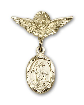 Baby Pin with Guardian Angel Charm and Angel with Smaller Wings Badge Pin - 14K Yellow Gold