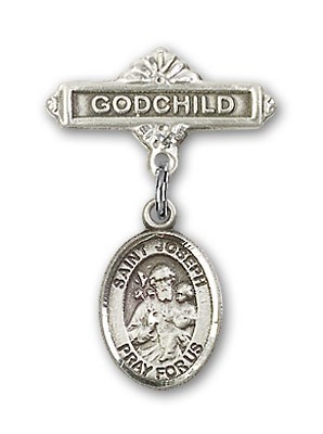 Pin Badge with St. Joseph Charm and Godchild Badge Pin - Silver tone