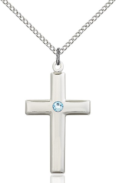Women's Plain Cross Pendant - Aqua