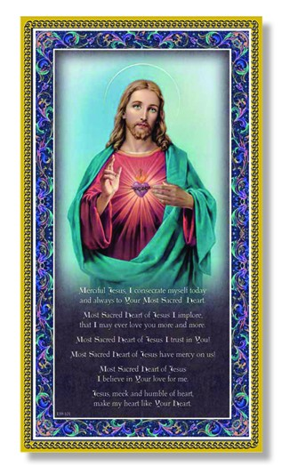 Sacred Heart of Jesus Italian Prayer Plaque - Multi-Color