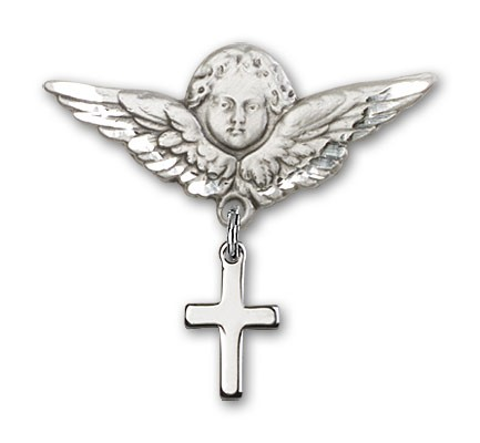 Baby Pin with Cross Charm and Angel with Larger Wings Badge Pin - Silver tone