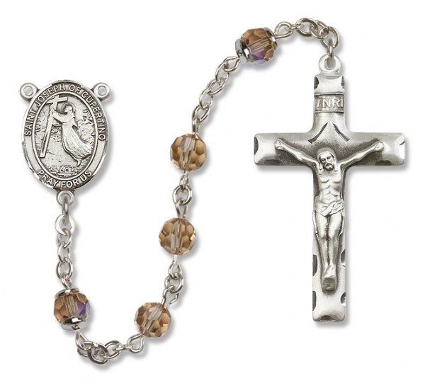 St. Joseph of Cupertino Sterling Silver Heirloom Rosary Squared Crucifix - Topaz