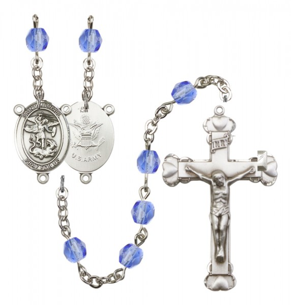 Women's St. Michael Army Birthstone Rosary - Sapphire