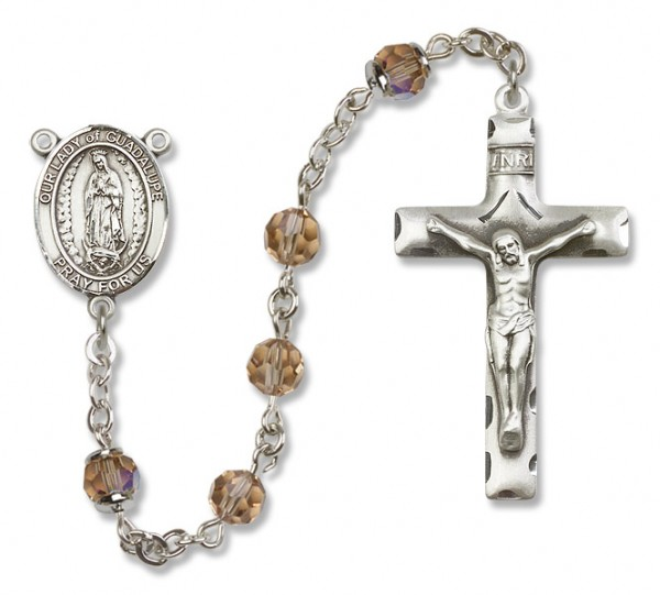 Our Lady of Guadalupe Sterling Silver Heirloom Rosary Squared Crucifix - Topaz