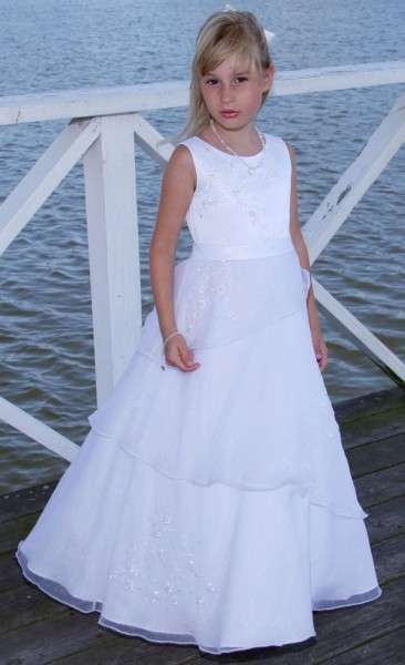 First Communion Dress in Satin with Asymmetrical Organza Skirt  - White