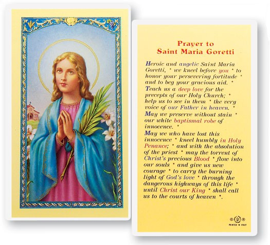 Prayer To St. Maria Goretti Laminated Prayer Cards 25 Pack - Full Color