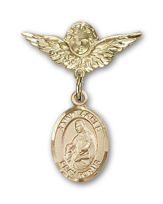 Pin Badge with St. Agnes of Rome Charm and Angel with Smaller Wings Badge Pin - 14K Solid Gold