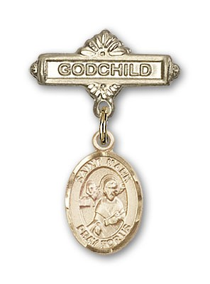 Pin Badge with St. Mark the Evangelist Charm and Godchild Badge Pin - Gold Tone