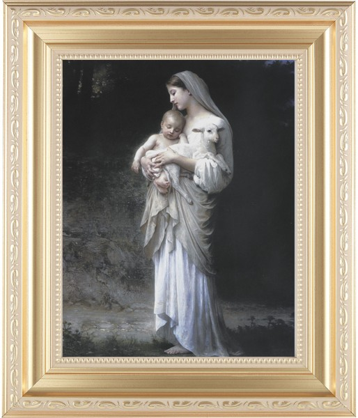 Madonna and Child with Baby Lamb Framed Print - #138 Frame