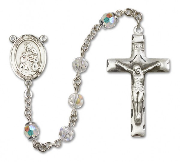St. Angela Merici Rosary Heirloom Squared Crucifix - Crystal