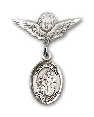 Pin Badge with St. Aaron Charm and Angel with Smaller Wings Badge Pin - Silver tone