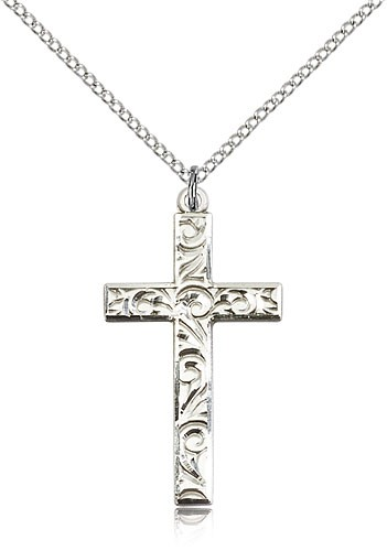 Cross Pendant with Scrolls - Sterling Silver