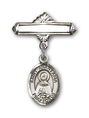 Pin Badge with St. Anastasia Charm and Polished Engravable Badge Pin - Silver tone