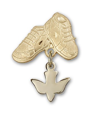 Baby Pin with Holy Spirit Charm and Baby Boots Pin - 14K Yellow Gold