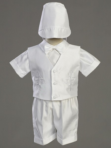 Boy's Embroidered Baptism Shantung Vest and Short Set - White