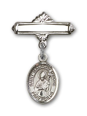 Pin Badge with St. Malachy O'More Charm and Polished Engravable Badge Pin - Silver tone