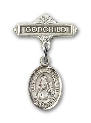 Baby Badge with Our Lady of Loretto Charm and Godchild Badge Pin - Silver tone