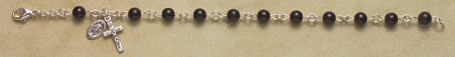 Rosary Bracelet - Sterling Silver with Onyx Beads - Black