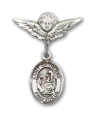 Pin Badge with St. Catherine of Siena Charm and Angel with Smaller Wings Badge Pin - Silver tone