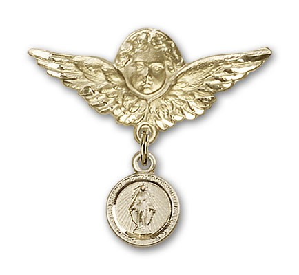 Baby Pin with Miraculous Charm and Angel with Larger Wings Badge Pin - 14K Solid Gold