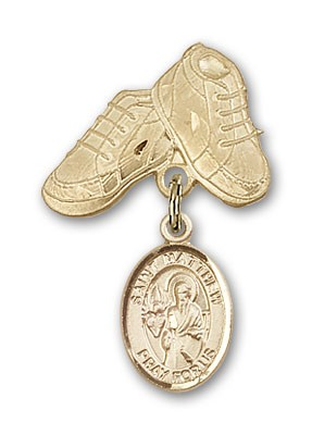 Pin Badge with St. Matthew the Apostle Charm and Baby Boots Pin - 14K Solid Gold