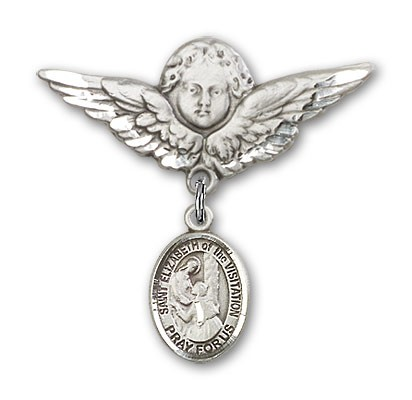 Pin Badge with St. Elizabeth of the Visitation Charm and Angel with Larger Wings Badge Pin - Silver tone