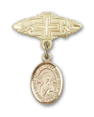 Pin Badge with Our Lady of Perpetual Help Charm and Badge Pin with Cross - 14K Solid Gold