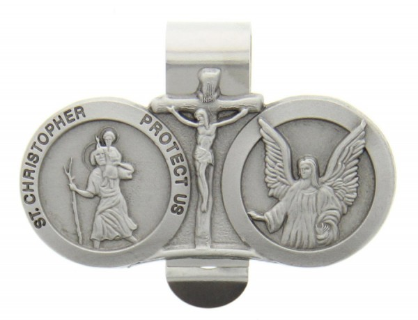 St. Christopher & Guardian Angel Auto Visor Clip Pewter - Silver