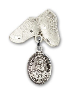 Pin Badge with St. Lidwina of Schiedam Charm and Baby Boots Pin - Silver tone