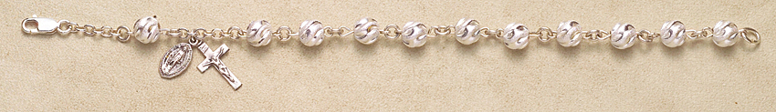 Rosary Bracelet - Sterling Silver Round Swirl - Sterling Silver