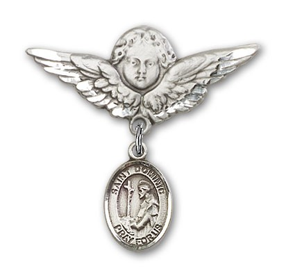 Pin Badge with St. Dominic de Guzman Charm and Angel with Larger Wings Badge Pin - Silver tone