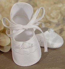 Girls Silk Dupioni Shoe with Rosette - White